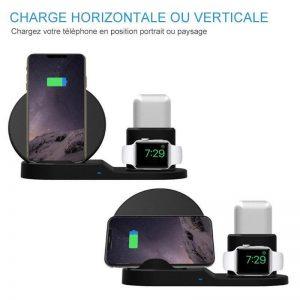 CHARGEUR RAPIDE INTELLIGENT : 3 en 1 Chargeur sans Fil pour Apple/Qi