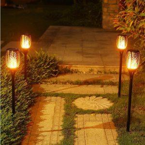 Torche Solaire LED effet Flamme Décorative