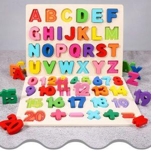 Alphabets et Chiffres en Bois Multicolores
