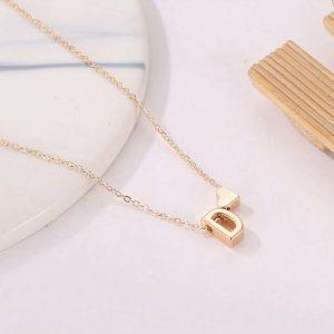 Collier avec lettre Initiale/cœur à pendentif pour femme