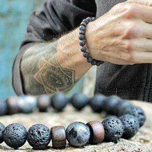 Bracelet Homme Pierre de Lave et Lune