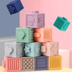 12 Blocs 3D à Empiler pour Bébé